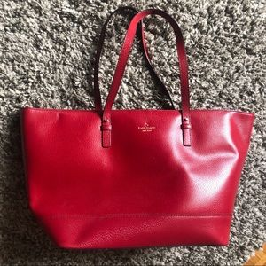 Kate Spade red leather tote laptop bag